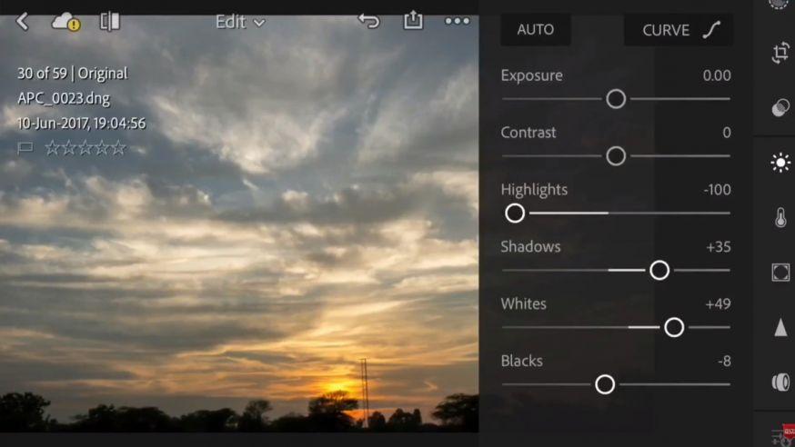 Bewerk je foto's met de Lightroom app
