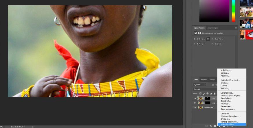 selectieve kleur gebruiken voor perfecte witte tanden