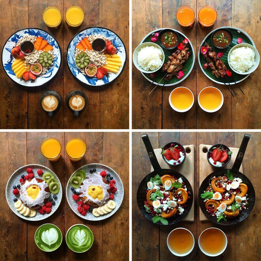 Symmetrisch ontbijt voor de zondagochtend